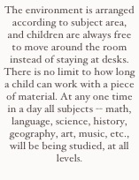 The environment is arranged according to subject area, and children are always free to move around the room instead of staying at desks. There is no limit to how long a child can work with a piece of material. At any one time in a day all subjects -- math, language, science, history, geography, art, music, etc., will be being studied, at all levels.